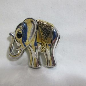 Silver Tone Elephant Trunk Up Brass Accent Brooch